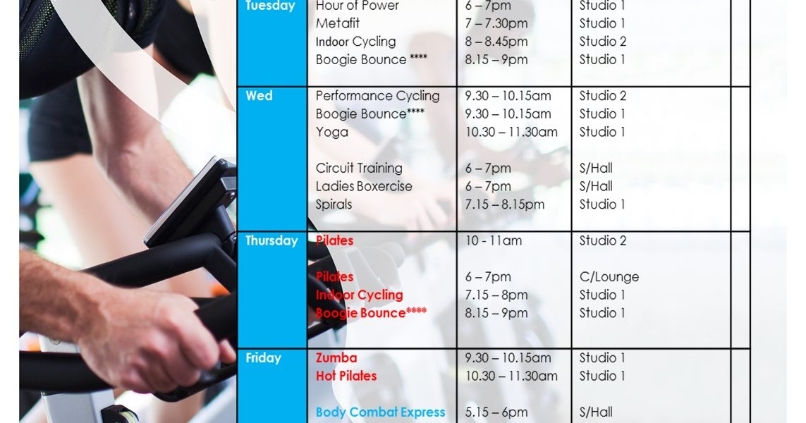New Fitness Class Timetable  The Cheshire